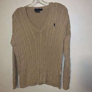 Polo Ralph Lauren v-neck cable knit sweater M